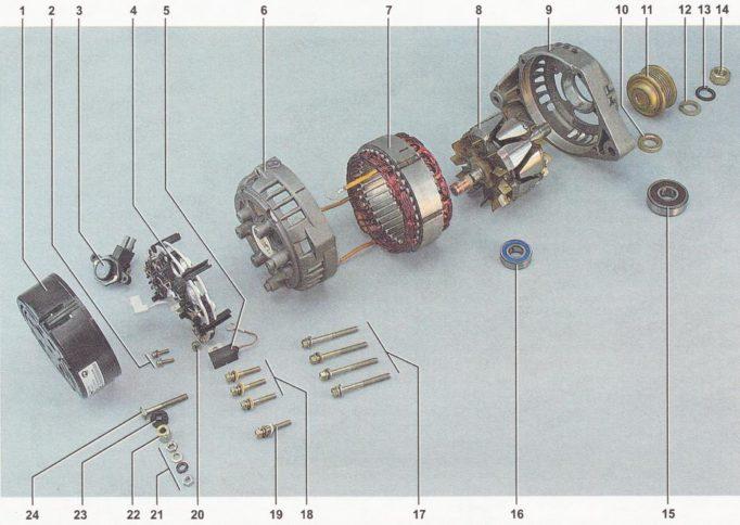 Детали генератора ВАЗ 2110, ВАЗ 2111, ВАЗ 2112