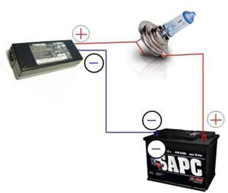 Схема зарядки при помощи БП от ноутбука