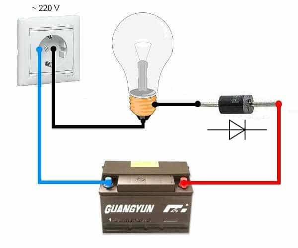 Схема устройства для зарядки АКБ от сети 220 В