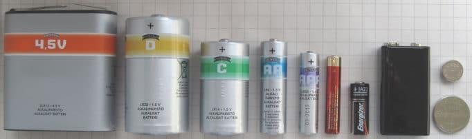 типоразмеры гальванических элементов и батарей