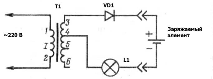 Схема для подзарядки батареек