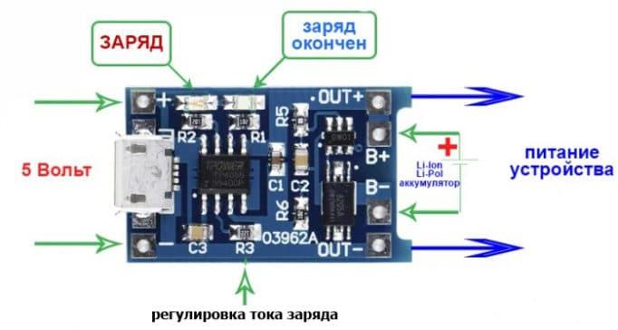 Схема зарядного модуля TP4056