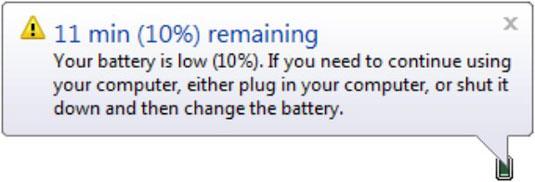 Сообщение, низкий заряд батареи