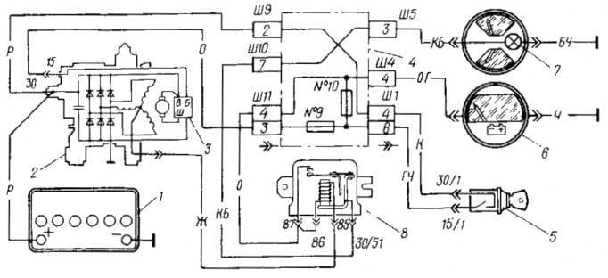 Схема узла зарядки АКБ ВАЗ 2107
